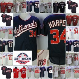 Wholesale Ryan White - Mens #34 Bryce Harper Jersey Stitched 7 Trea Turner 11 Ryan Zimmerman 20 Daniel Murphy 31 Max Scherzer 2018 All-Star game Jerseys S-3XL