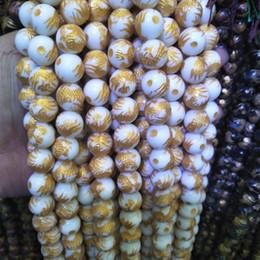 2019 drago in pietra scolpita Alta qualità 14mm placcatura in oro bianco agata perline di pietra intagliato a mano cinese drago loong perline sparse gioielli fai da te accessori drago in pietra scolpita economici