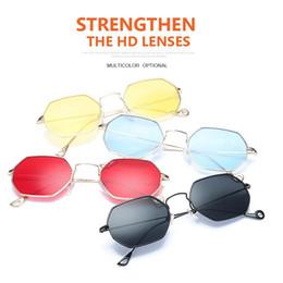 Wholesale Colorful Plastic Sunglasses - Vintage Square Sunglasses Alloy Frame Reflective Mirror Sunglasses Colorful Lens Sun Glasses Protection Goggles 14 Colors OOA4685