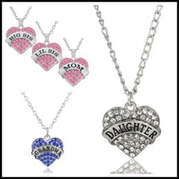 Wholesale Hope Black - Wholesales 45 Styles MOM GRANDMA HOPE Heart Pendants Familial Affection Necklaces Chokers Jewelry with 50cm Chain