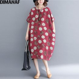 e092dc1e67 DIMANAF Women Linen Dress Plus Size 2018 New Summer Polka Dot Vintage  Batwing Sleeve Female Loose Big Large Oversized Dress