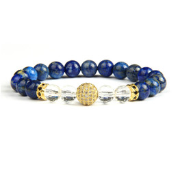 natural beaded linked chain Coupons - Gold Bracelets Wholesale 10pcs lot Micro Pave Clear Cz Ball Beaded Bracelet For Men's Gift With Natural Lapis Stone Beads