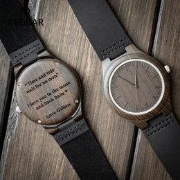 Engraved Wooden Watch For Men Boyfriend Or Groomsmen Gifts Black Sandalwood Customized Wood Birthday Gift Him On Sale