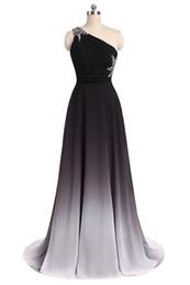 Chiffon dama de honra vestidos de strass on-line-2019 elegante de um ombro a linha mulheres vestidos de baile cordão cor gradiente chiffon drapeado strass vestidos de dama de honra para banquetes de festa