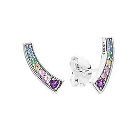 arcos-íris de diamantes Desconto Authentic 925 prata esterlina gemas coloridas CZ diamante brincos caixa Original para Pandora Rainbow Stud Earring frete grátis