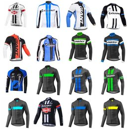 Wholesale Giant Mtb Bikes - GIANT team Cycling long Sleeves jersey Men's Outdoors MTB Running Bicycle NEW T-Shirt Riding Bike Clothes Sportwear D1005