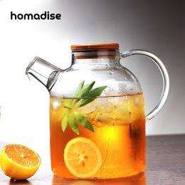 2019 filtro de vidro teapot Homadise Grande Capacidade de Vidro Chaleira Jarro De Água Resistente Ao Calor Artesanato Flor Bule Filtro Tampa De Bambu de Aço Inoxidável Filtro filtro de vidro teapot barato
