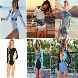Wholesale Surf Suit Woman - Floral Print Swimwear bikini women Hot spring surfing diving one piece Swimsuit sexy Padded bra bathing swimming suits long sleeve beachwear
