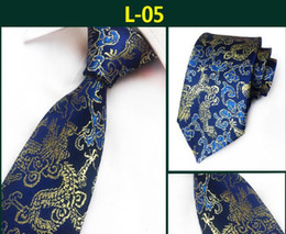 Wholesale floral designs patterns - 2018 New Arrival New Design Brocade Fabric Festive Chinese Dragon Pattern Wedding Tie Groom fashion Tie Red Black Wine Pink Brown Tie