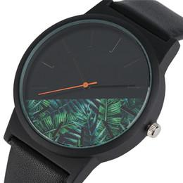 Wholesale Best Green Designs - Unique Tropical Jungle Design Men Quartz Wristwatch for Men's Casula Creative Watch with Faux Leather Best Clock Gift for Man