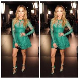Canada 2018 O-cou manches longues dentelle appliques manches longues vert court robes de bal Celebrity robe de bal personnalisé en ligne cheap green gown online Offre
