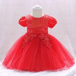 Vestido de princesa de 12 meses online-2018 Summer Baby Girl Clothes Vestido de novia para niñas Princess Dress Infant 2 1 año First Birthday Girl Party 6 12 meses