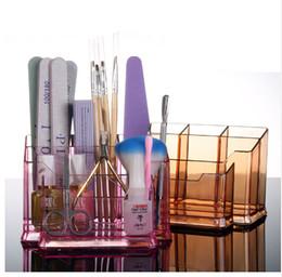 Wholesale Pen Desktop - Nail Desktop Storage Case Transparent Scissors Polish Jewelry Pen Brushes Box Container Manicure Nail Desktop Tool