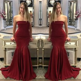 Wholesale Satin Maternity Bridesmaid - 2018 Fashion Dark Red Strapless Prom Dresses Mermaid Backless With Brush Train Long For Bridesmaid Dress Evening Gowns Dress 99