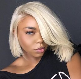 Wholesale Human Hair Lace Wigs White - Cheap 8A Blonde Full Lace Wigs 613 Brazilian Virgin Hair Straight Gluless Blonde Lace Front Human Hair Wig For Black White Women