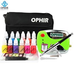 Kit aérographe OPHIR 0.3mm Nail Art avec compresseur d'air 12 encres couleur 20 pochoirs pour aérographes sac de nettoyage brosse à ongles ? partir de fabricateur
