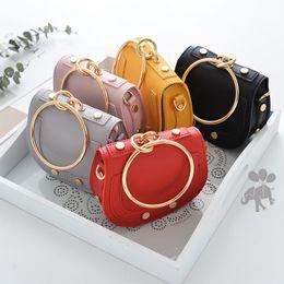 Wholesale hand ring girls - NEW baby kids girls handbag Princess Crossbody Bag Big Ring Hand Bag Candy Colors 5 p l