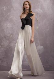 Nouveau design femmes de la mode européenne o-cou sans manches gaze patchwork hors épaule tube haut taille haute en mousseline de soie jambe large pantalon long combinaison ? partir de fabricateur