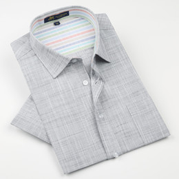 Wholesale flax linen dress l - Brand high quality Linen Men's Shirts Short Sleeve Male Casual Business Shirts Flax dress shirt for man camisa masculina
