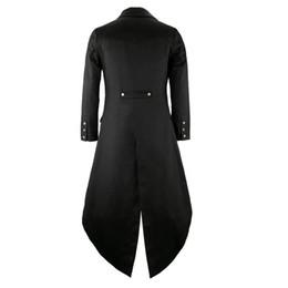 Wholesale Gothic Men Costume - ostume victorian Mens Gothic Tailcoat Jacket Steampunk Trench Cosplay Costume Victorian Coat Black Long Coat Men's Tuxedo Suit Hallow...