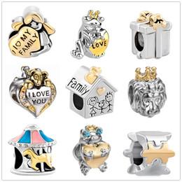 MOQ 20 pcs EuropeanUS amor família house lion beads fit encantos pandora prata original para as mulheres homem pulseira pulseira DIY jóias atacado de Fornecedores de antiguidades asiáticas por atacado