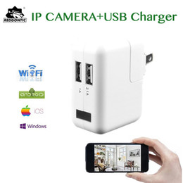 Wholesale Wireless Charger Ac - 1080P Mini wifi ip camera usb charger Camera HD Wall AC Charger Camera Nanny USB Adapter Cam Surveillance card reader free
