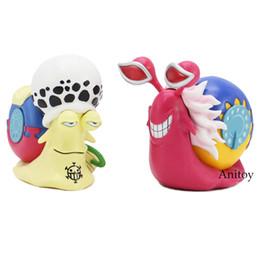 Wholesale trafalgar figure - ne piece trafalgar law Anime One Piece Trafalgar Law + Doflamingo Den Den Mushi Telephone PVC Figures Collectible Model Toys 2pcs set 10....