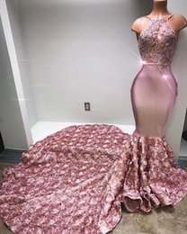Wholesale floral print prom dresses - 2018 Sexy Blush Pink Halter Mermaid Prom Dresses African 3D Floral Flowers Sleeveless Sweep Train Evening Gowns Plus Size Vestidos De Festa