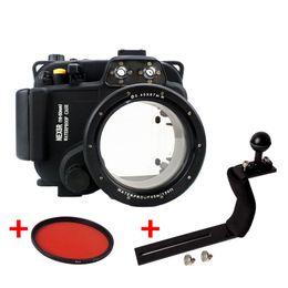 2019 bolsas de cámara equipadas Funda impermeable para submarinismo Funda de buceo Bolsa de cámara para SONY NEX 5R 5T Nex-5R 5T en forma de lente de 16-50mm con 67mm Filtro rojo + Manija bolsas de cámara equipadas baratos