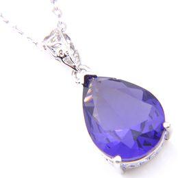 Gemas de plata de ley online-Nuevo 10 Unids 1 lote LuckyShine Top Fire Drop Amethyst Gems Crystal 925 Sterling Silver Fashion Mujeres Colgantes de La Boda Collar + cadena