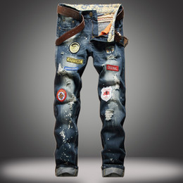 Wholesale Fly America - Mens classic badge patchwork design hole jeans Straight Slim ripped jeans male demin pants tide Europe and America hip hop jeans