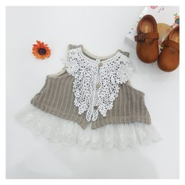 Wholesale Girls Knitting Waistcoat Vest - Spring Girls lace crochet waistcoats kids splicing lace embroidery falbala princess vest children stripes knitted cardigan waistcoats Y3038