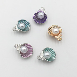 Wholesale Metal Handmade Jewelry - Free Shipping 20pcs lot Alloy Metal Colorful Shell with Imitation Pearl Charms Pendant for Jewelry Making DIY Handmade Earring Necklace