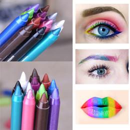 Wholesale Eyes Pigments - New Fashion Color Pigment Multi-functional Waterproof Makeup Eyeliner Pencils Natural Long Lasting Gel Eye Liner Pen