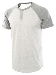 Longues chemises en coton d'été en Ligne-Bouton Design Hommes Casual T-shirts D'été À Manches Courtes Coton Mélange Tshirts Crew Neck Patchwork Tshirts Hommes Hauts