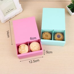 Wholesale box for mooncake - Candy Color 4 Grid Macaron Box Pastry Box for Biscuits Cookie Mooncake Packaging Paper Gift Boxes wen5059