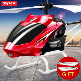 Wholesale Indoor Toy Helicopter - Official SYMA RC Helicopter Mini Indoor Aluminum with Light Built in Gyroscope Remote Control Drone Toys Red Yellow Color