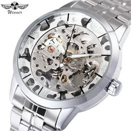 mãos de relógio de aço inoxidável Desconto VENCEDORA Top Marca de Luxo Relógios Homens de Aço Inoxidável Prata Strap Esqueleto Mecânico Relógios De Pulso para o Homem Luminoso Mãos Relógio