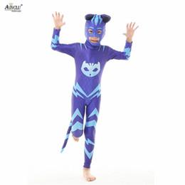 Argentina Pj Cartoon Cosplay azul enmascarado traje Gekko Catboy Pj fiesta de cumpleaños Disfraces de Halloween con máscara / colas para niños Suministro