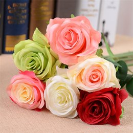 Wholesale Latex Rose Bouquet - Hot Decor Rose Artificial Flowers Silk Flowers Floral Latex Real Touch Rose Wedding Bouquet Home Party Design Flowers IB732