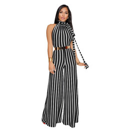 Wholesale women sexy jumpsuits wide leg - Sexy Striped Lace Hang Neck Backless Wide Leg Pants 2018 New Fashion Women Clothing stripe Jumpsuits Womens Jumpsuits Pants Fashion Rompers