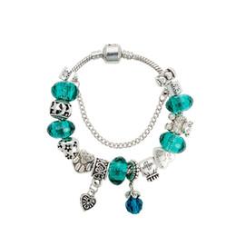 Grünes kristallherzarmband online-Green Crystal Charms Armband 925 Sterling Silber Herz Anhänger Armbänder mit Logo European Beads Schmuck für Frauen Geschenk