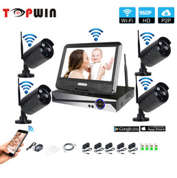 "Wholesale 4ch nvr kit - Wifi Surveillance System Network 10.1"" LCD Monitor NVR Recorder Wifi Kit 4CH 960P HD Video Inputs Security Camera"