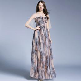il vestito promana il leopardo Sconti Lady Milan 2018 O Neck Neck Mezze maniche Patchwork Leopard stampato Ruched Waist Party Prom Moda abiti lunghi