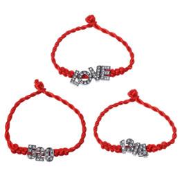 love couple bracelet Promotion I Love U Forever Crystal lettres incrustées rouge bracelet de couple de cordes pour les amoureux bracelet exquis