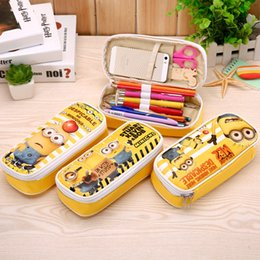 Wholesale Gift Minion - New Cartoon Minions Print Pencil Bag Kawaii Zipper Creative Stationery Storage Bags Big Capacity Case for Boys Girls
