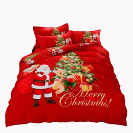 Wholesale Christmas Red Duvets - Christmas Bedding Set Santa Claus Printed red Bed Duvet Cover with Pillowcase Twin Queen King Size Cozy and Soft Bedclothes