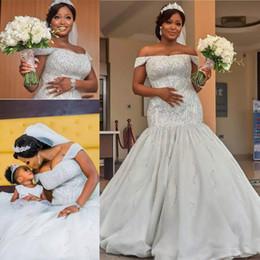Wholesale luxurious dresses dubai - Luxurious Plus Size Wedding Dresses 2018 Dubai African Off Shoulder Major Beadings Beach Bridal Gowns Sweep Mermaid Wedding Dress