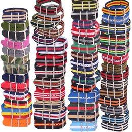 Banda de relógio de nylon on-line-10 pcs Lote Listra Por Atacado Retro 22mm Tecido Forte exército tecido Nato Nylon Watch Strap Banda Fivela 22mm watchband