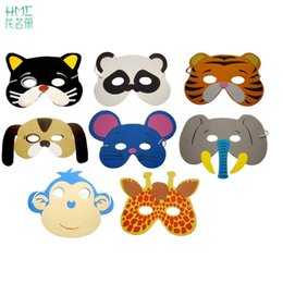 Wholesale Dress Up Set Kids - 12pcs set Foam Animal Masks Birthday Party Mask Supplies EVA Cartoon Kids Party Dress Up Zoo Jungle Mask Party Decoration